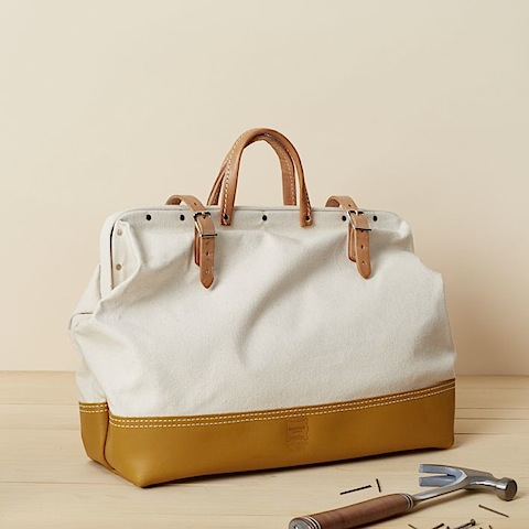 West Elm Heritage Leather, Canvas/Leather Mason Bag