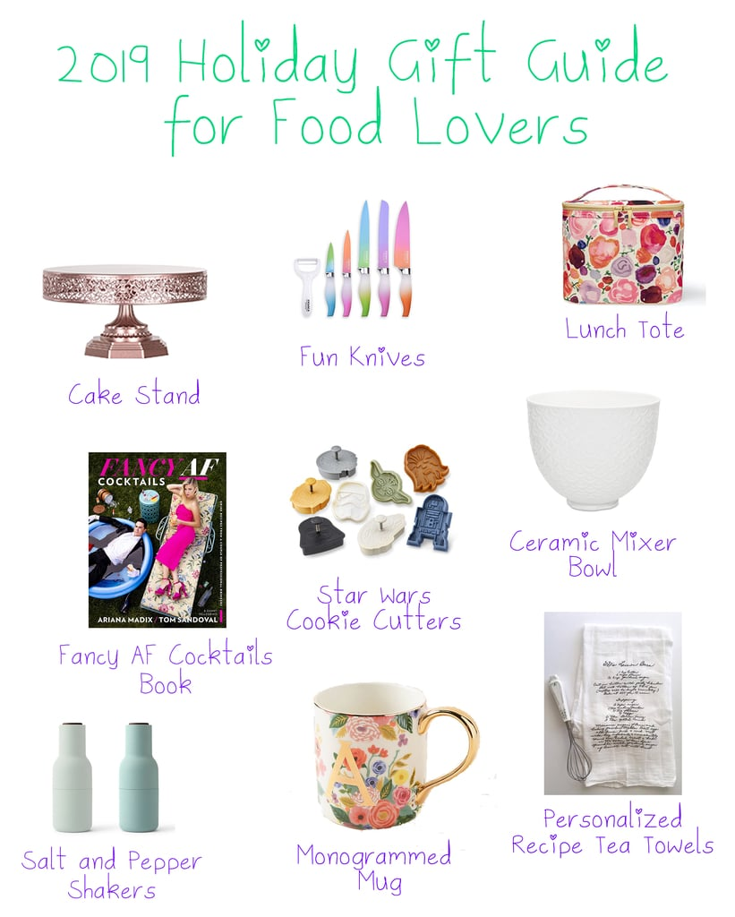 Collage showing some items in my 2019 holiday gift guide, including a cake stand, pretty knives, lunch tote, Fancy AF Cocktails Book, Star Wars cookie cutters, ceramic mixer bowl, salt and pepper shakers, monogrammed mug, and personalized recipe tea towels