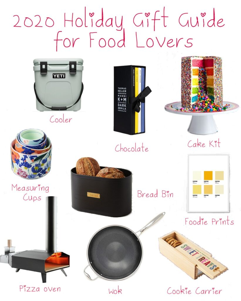Collage featuring items from the 2020 holiday gift guide for food lovers, including measuring cups, bread bin, cooler, chocolate, cake kit, cheese print, cookie carrier, wok, and pizza oven