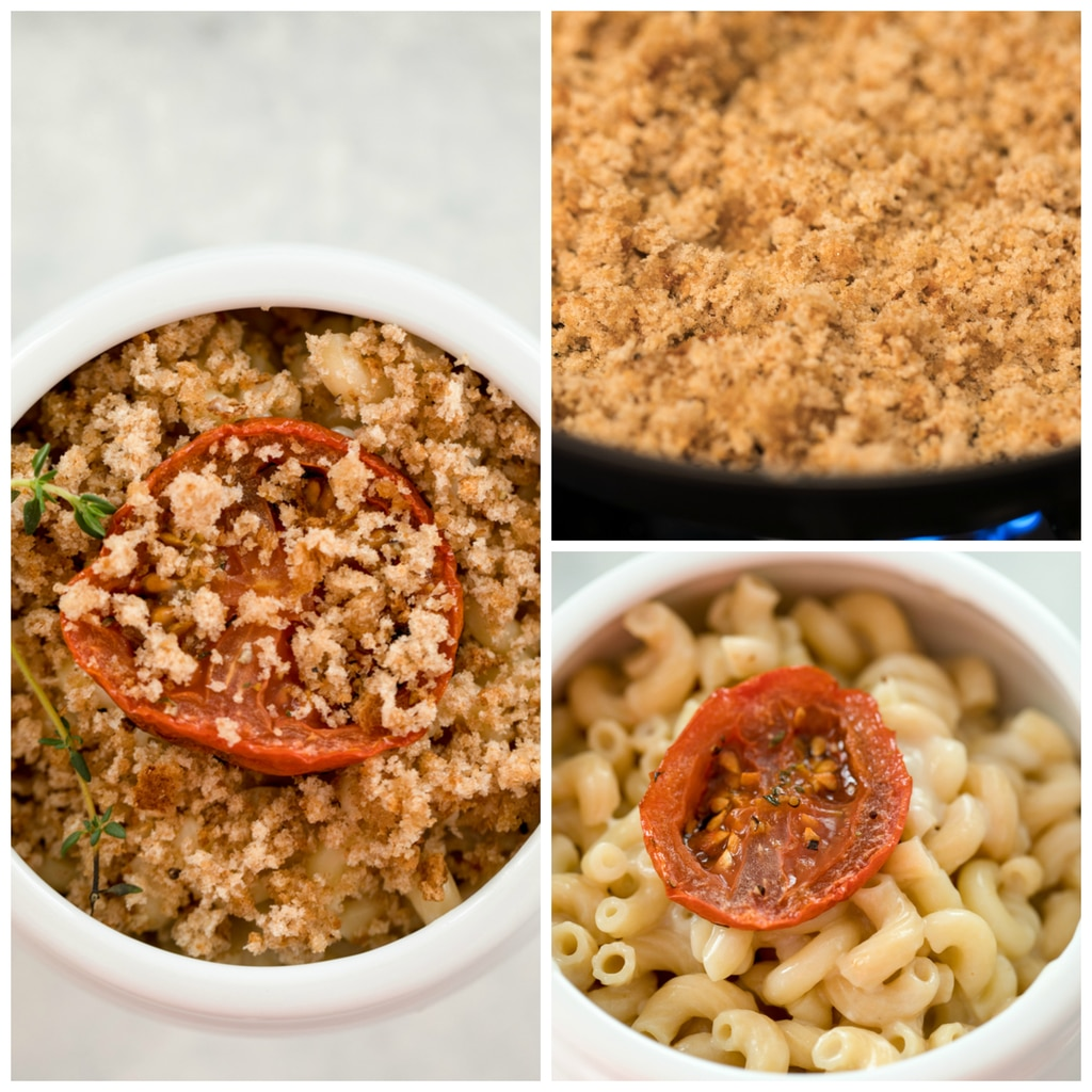 Collage showing lighter mac and cheese being assembled with the toasting of the breadcrumbs, mac and cheese in a ramekin with a tomato on top, and sprinkled with breadcrumbs and thyme