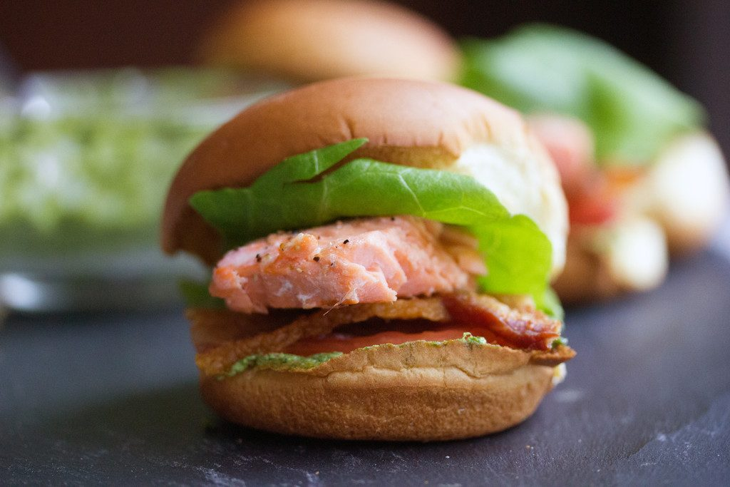Alaskan Salmon BLT Pesto Sliders -- A healthy burger, plus bacon! |wearenotmartha.com