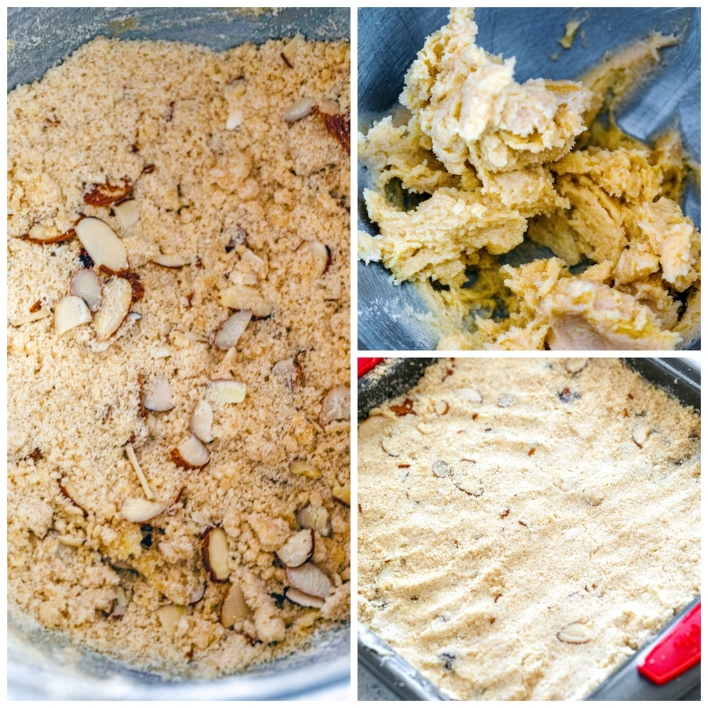 Collage showing process for making almond blueberry bar dough, including butter and sugar creamed in bowl, dough with almonds mixed in bowl, and dough pressed into the bottom of a pan