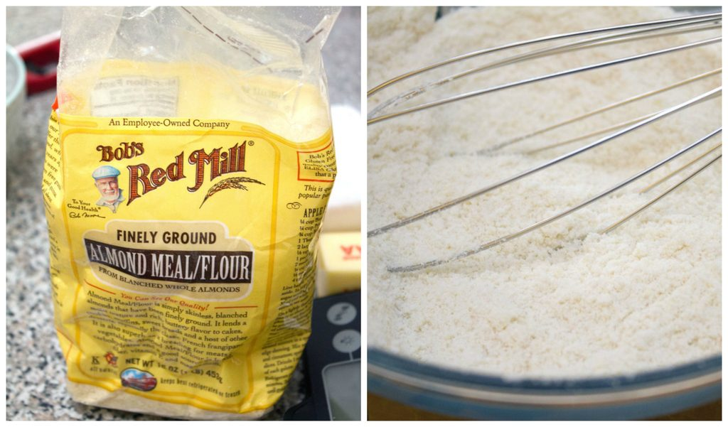Collage showing photo of Bob's Red Mill almond flour and almond flour and confectioners' sugar in a bowl with a whisk
