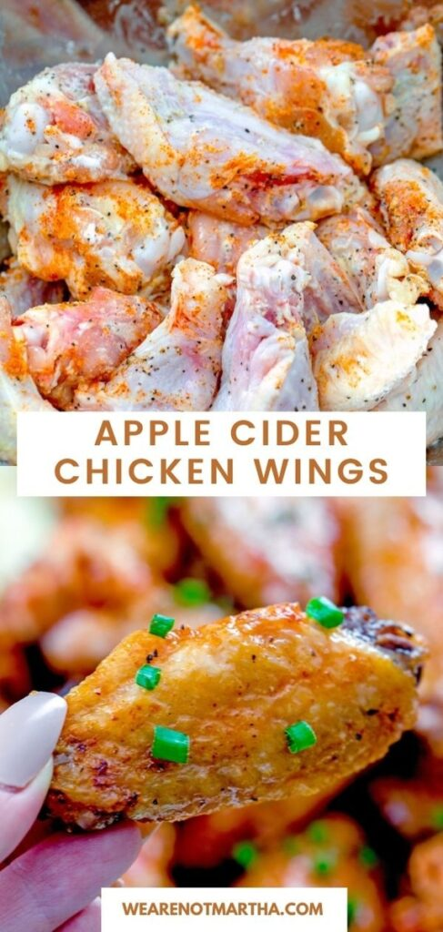 Looking for an easy weeknight dinner that your whole family will love? These Apple Cider Chicken Wings are baked and absolutely delicious! | wearenotmartha.com #bakedwings #chickenwings #simpledinners #chickenrecipes