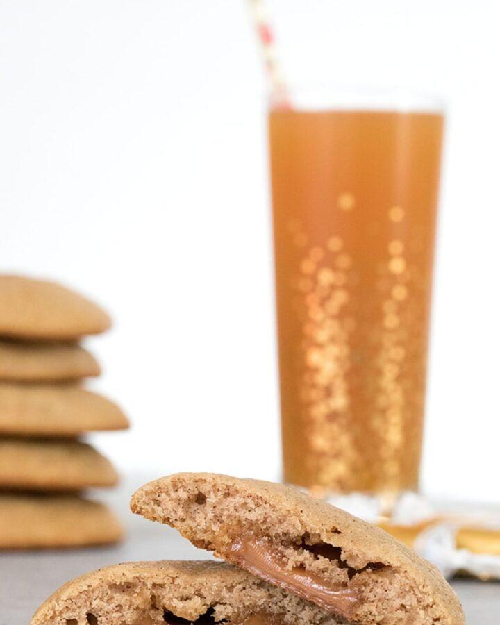 Apple Cider Caramel Cookies -- Apple Cider Cookies are soft, muffin-like cookies stuffed with a little caramel surprise | wearenotmartha.com #cookies #applecider #fall #caramel #dessert