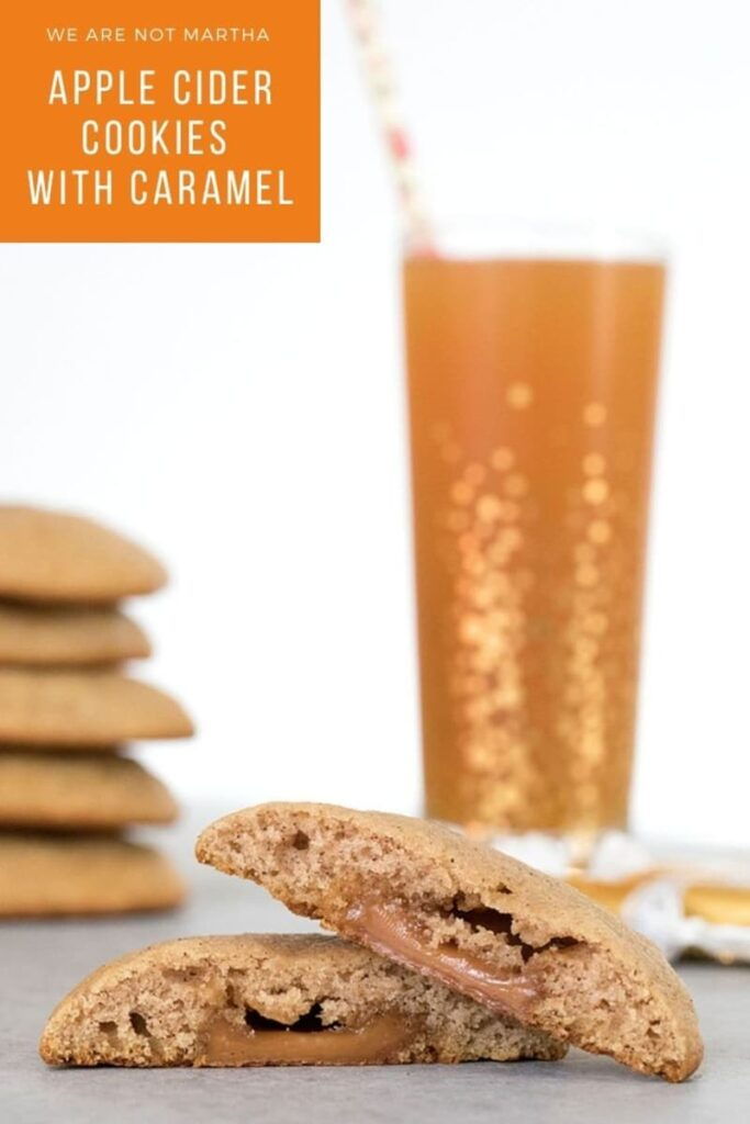 These Apple Cider Cookies have a caramel surprise inside them and are the perfect fall treat | wearenotmartha.com #fallcookies #cookierecipes #applecider #cookies #caramel
