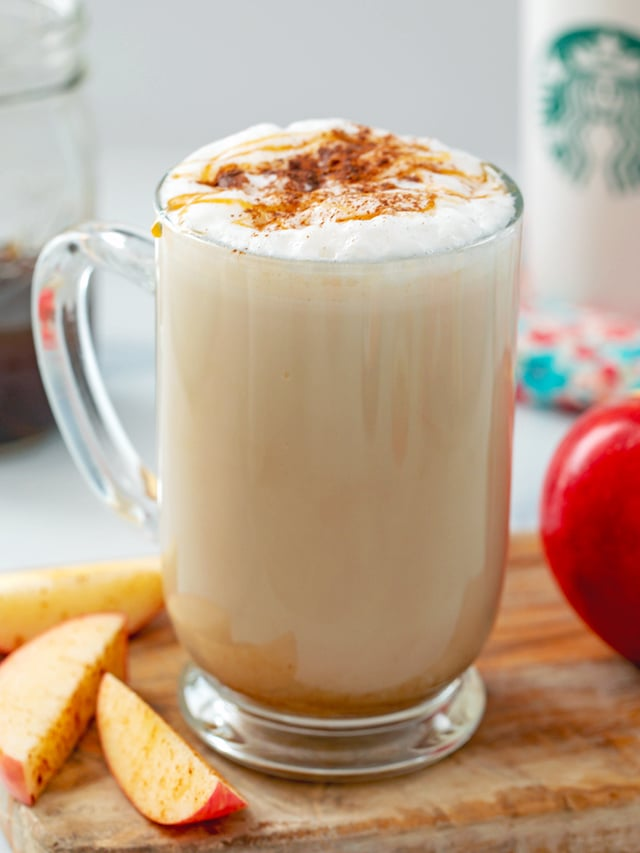 Close-up view of an apple crisp macchiato Starbucks copycat coffee drink with apples all around