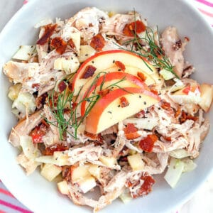Apple, Fennel and Bacon Chicken Salad -- This apple, fennel, and bacon chicken salad has all the components necessary for the ideal chicken salad and makes the most delicious lunch | wearenotmartha.com