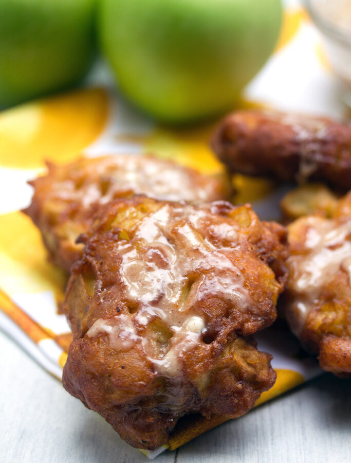 Apple Fritters -- These Apple Fritters are made with a simple batter that's fully loaded with granny smith apples. Easy to prep and fry, this recipe might be dangerous to have in your repertoire!| wearenotmartha.com