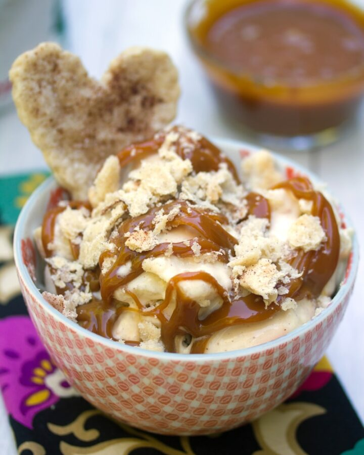 Apple Pie Ice Cream -- This Apple Pie Ice Cream has all the elements of your favorite seasonal treat: apple pie filling, apple cider caramel, and pie crust cookies. It will convince you to keep your ice cream machine out all fall and winter long   wearenotmartha.com