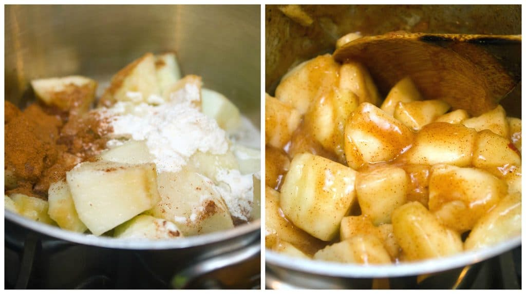 Collage showing process for making apple pie filling for ice cream, including photo of apples, sugar, cinnamon, and flour in pan and photo of cooked apple pie filling