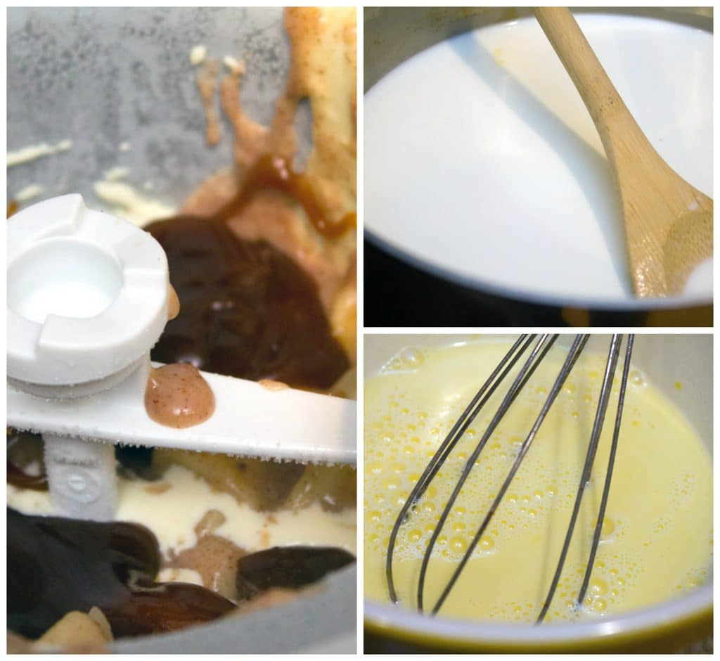 Collage showing process for making apple pie ice cream, including milk and sugar in saucepan, eggs and milk tempering in bowl, and ice cream with caramel and apple pie filling churning in ice cream maker
