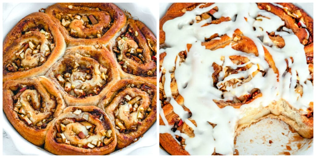 One photo showing overhead view of apple walnut cinnamon rolls just out of the oven and another showing cinnamon rolls topped with icing with one removed from dish