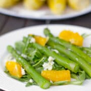 Asparagus, Orange, and Gorgonzola Salad -- Asparagus salad? Yes! This Asparagus, Orange, and Gorgonzola Salad is so much more impressive (and delicious) than a garden salad and extremely simple to make | wearenotmartha.com