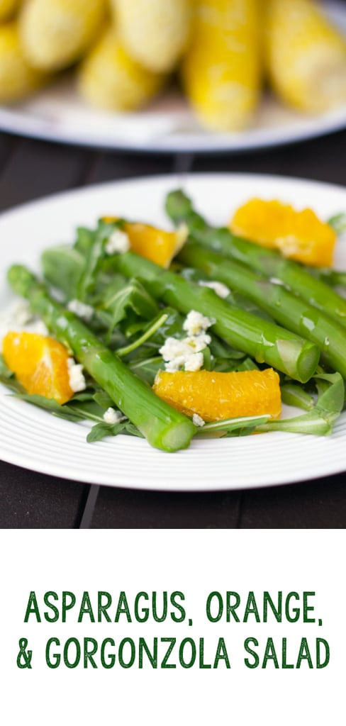Asparagus, Orange, and Gorgonzola Salad -- Asparagus salad? Yes! This Asparagus, Orange, and Gorgonzola Salad is so much more impressive (and delicious) than a garden salad and extremely simple to make | wearenotmartha.com #salads #asparagus #sidedish #gorgonzola