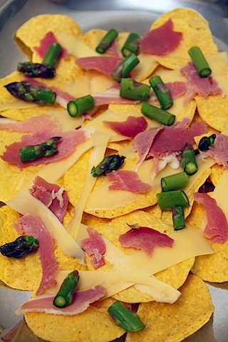Asparagus, Prosciutto, and Gruyere Nachos | We are not Martha