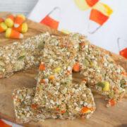 Autumn Candy Corn Granola Bars -- No bake granola bars perfect for using leftover Halloween candy | wearenotmartha.com