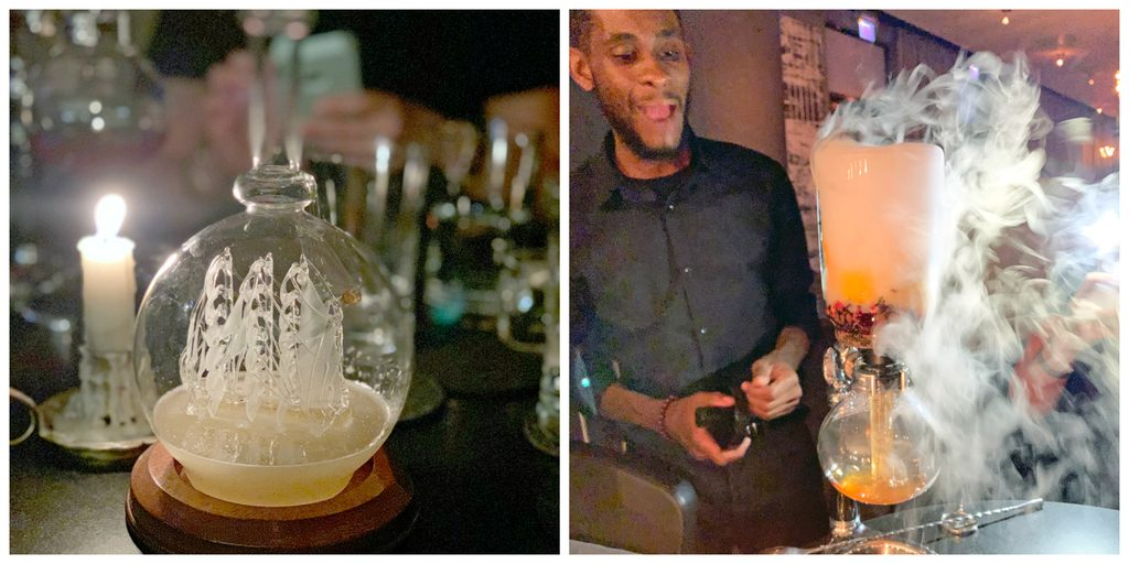 Collage showing two different cocktails from Chicago's The Aviary, including Loaded to the Gunwalls and Passion of the Ice