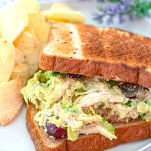 Avocado Chicken Salad -- This Avocado Chicken Salad is quick and easy to make for a delicious lunch on the go. I love grapes in chicken salad, but you can use any chicken salad add-ins you want! | wearenotmartha.com