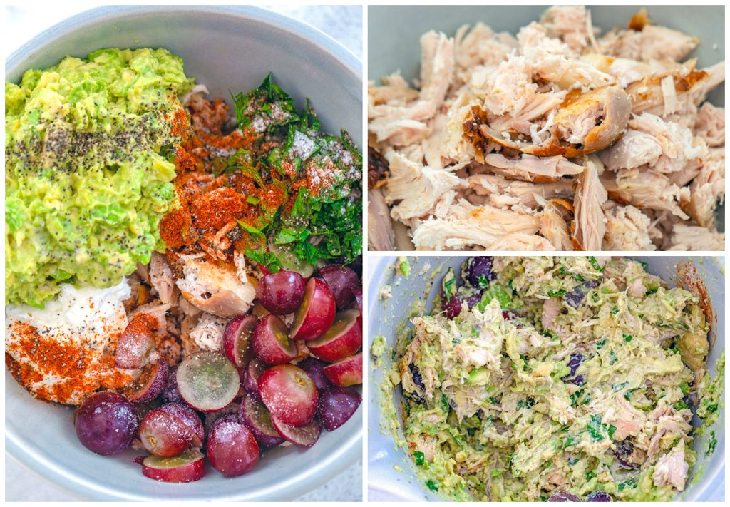 Collage showing process for making avocado chicken salad, including shredded chicken in a bowl; all ingredients including mashed avocado, yogurt, shredded chicken, grapes, parsley, and cayenne in a bowl; and all ingredients mixed together in the bowl