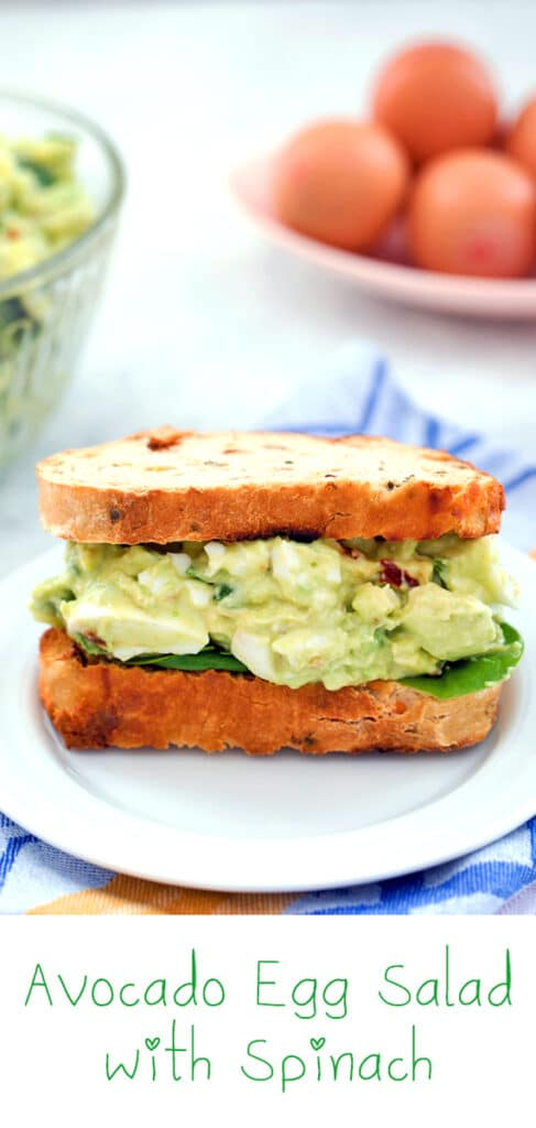 Avocado Egg Salad with Spinach -- Love egg salad, but wishing for a healthier version? This healthy avocado egg salad is packed with protein and nutrition from eggs, avocado, and spinach. Plus, it's a mayo-free egg salad | wearenotmartha.com
