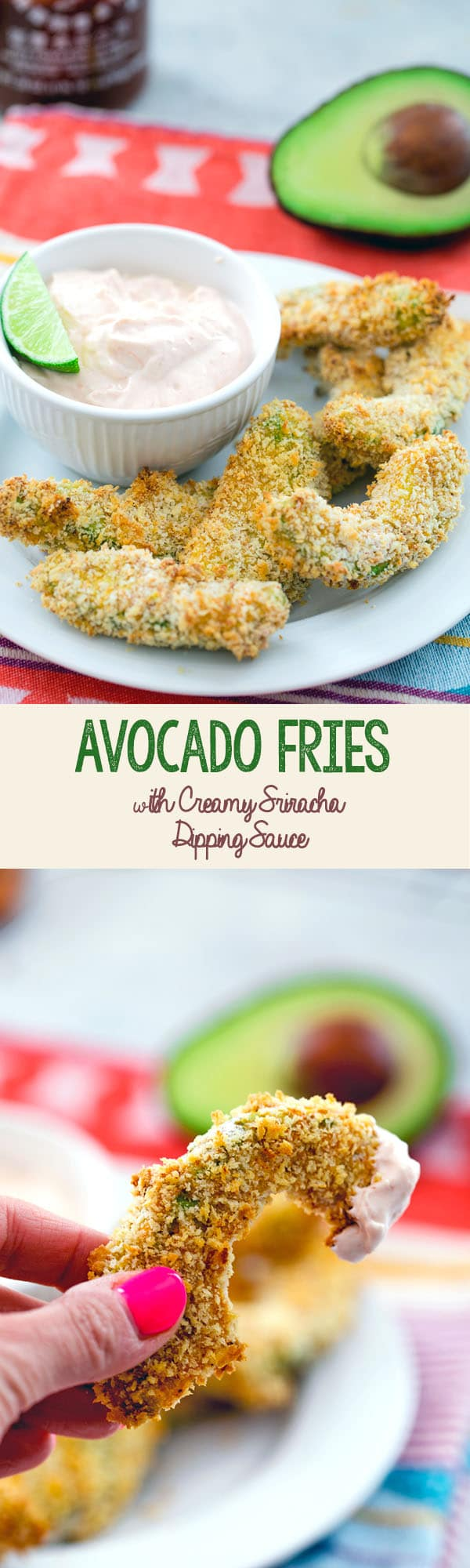 Avocado Fries with Creamy Sriracha Dipping Sauce -- These avocado fries make for a perfectly crispy and flavorful snack, side dish, or party appetizer   wearenotmartha.com #avocado #avocadofries #panko #appetizer #sidedish