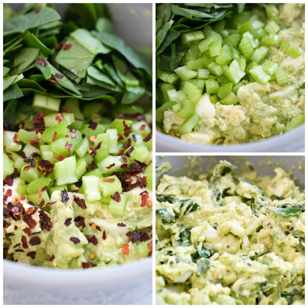 Collage showing avocado egg salad in a bowl with spinach, and celery, showing all ingredients with red pepper flakes added, and showing all ingredients combined