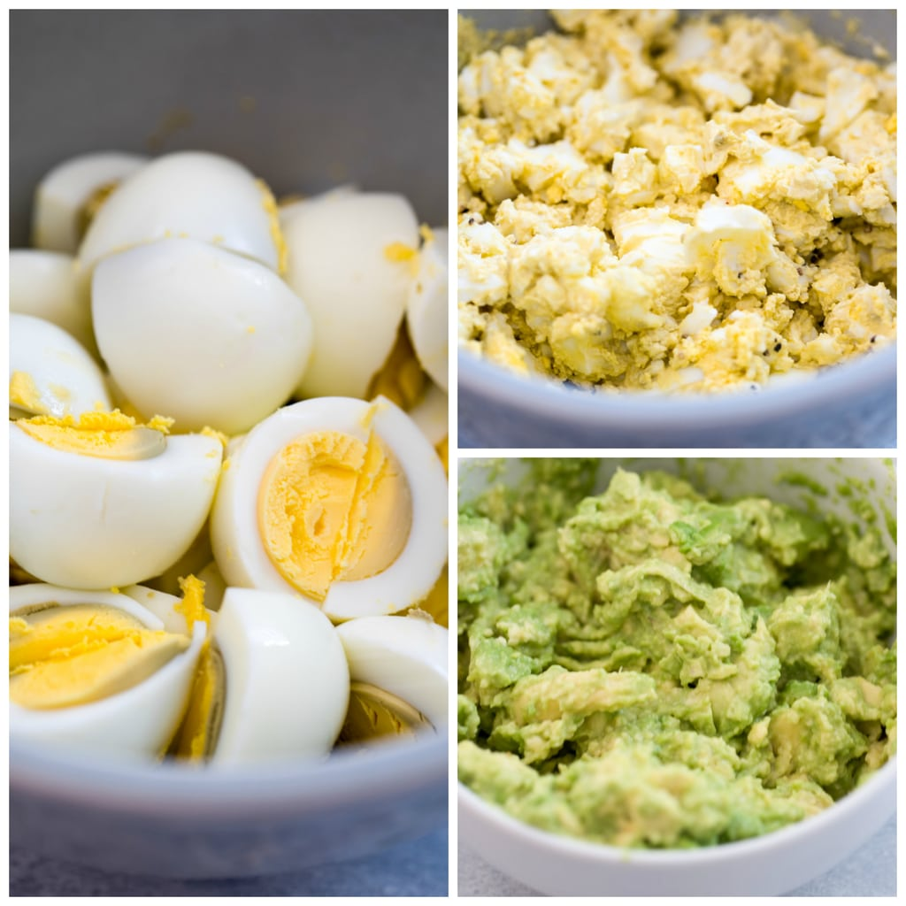 Collage showing hard boiled eggs, hard boiled eggs mashed in a bowl, and avocado mashed in a bowl