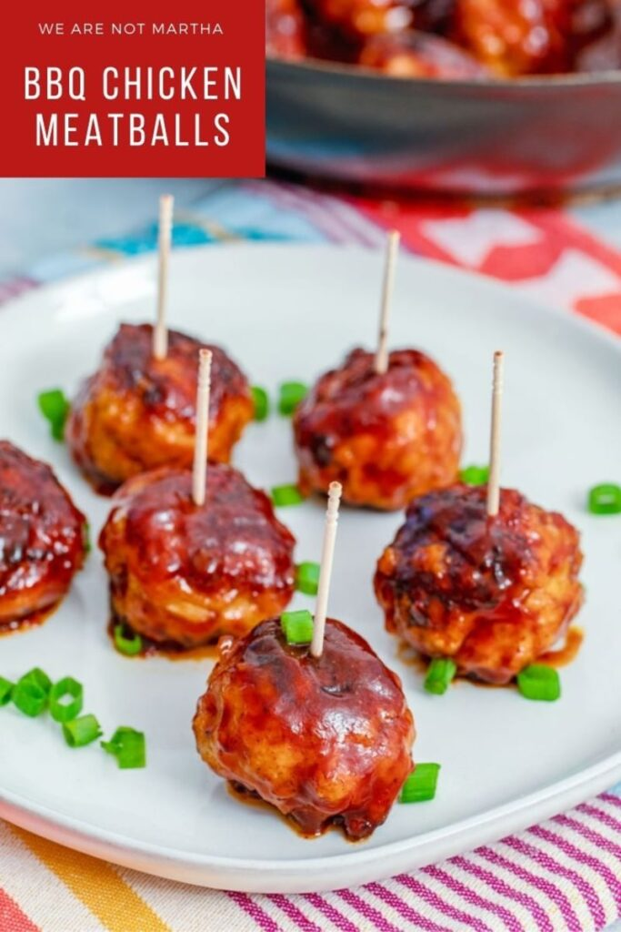 These BBQ Chicken Meatballs make the perfect party appetizer, but are also delicious when served as a main course! | wearenotmartha.com #bbqchicken #chickenmeatballs #partymeatballs #partyfood #partyappetizers