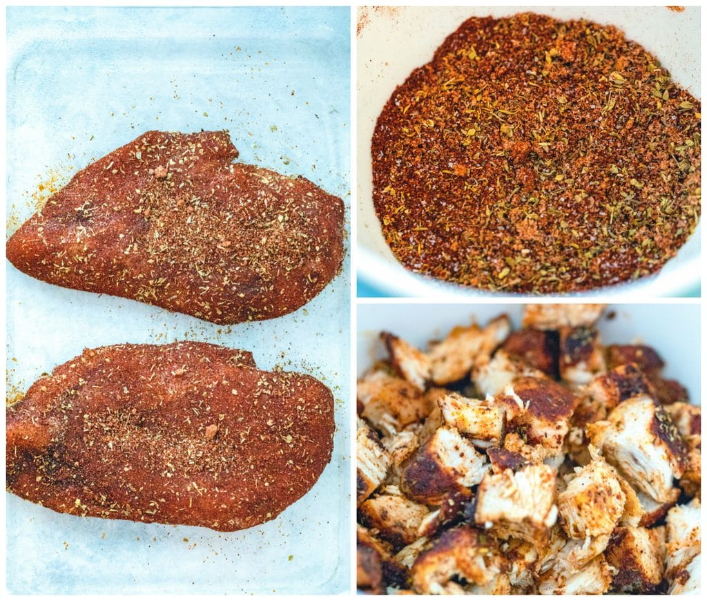 Collage showing process for making BBQ chicken for BBQ chicken tacos, including spice mixture in a bowl, spice mixture rubbed on chicken, and cooked chicken chopped into cubes in a bowl
