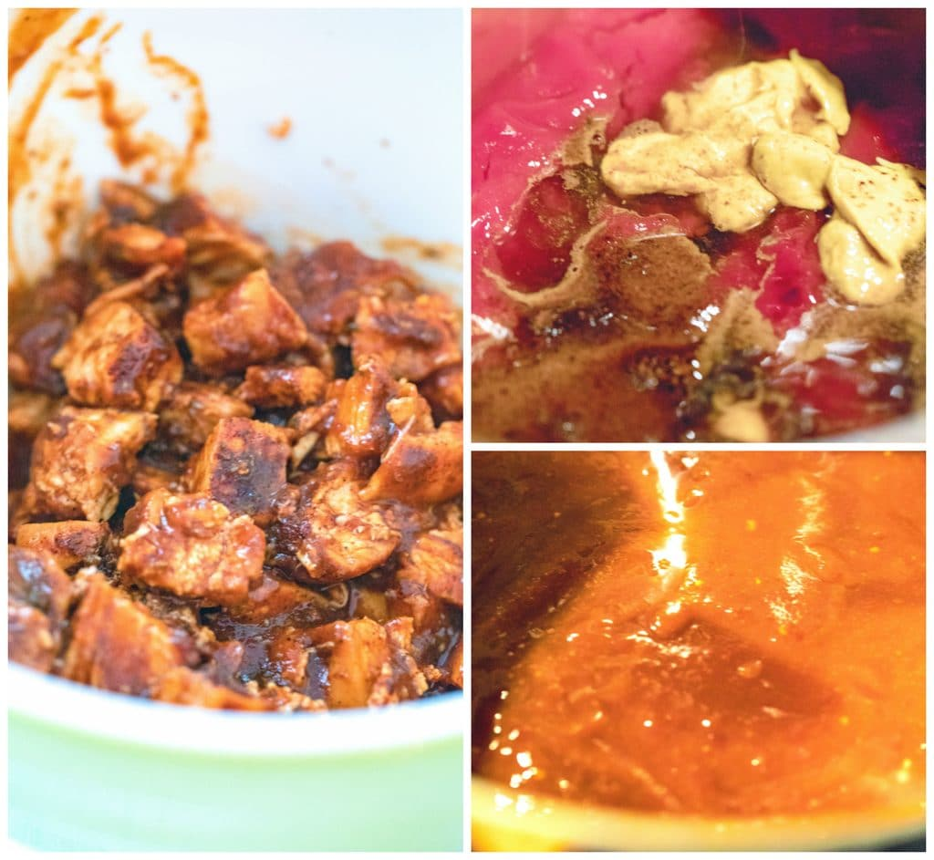 Collage showing process for making BBQ sauce for BBQ chicken tacos, including sauce ingredients in a saucepan, BBQ sauce mixed together, and BBQ sauce on chicken in a bowl