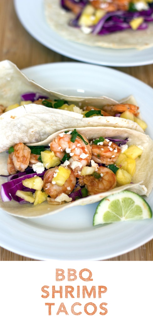 BBQ Shrimp Tacos -- From the shrimp to the BBQ sauce to the pineapple, these BBQ Shrimp Tacos are the stuff summer dreams are made of! | wearenotmartha.com #shrimp #tacos #shrimptacos #bbqsauce #summer