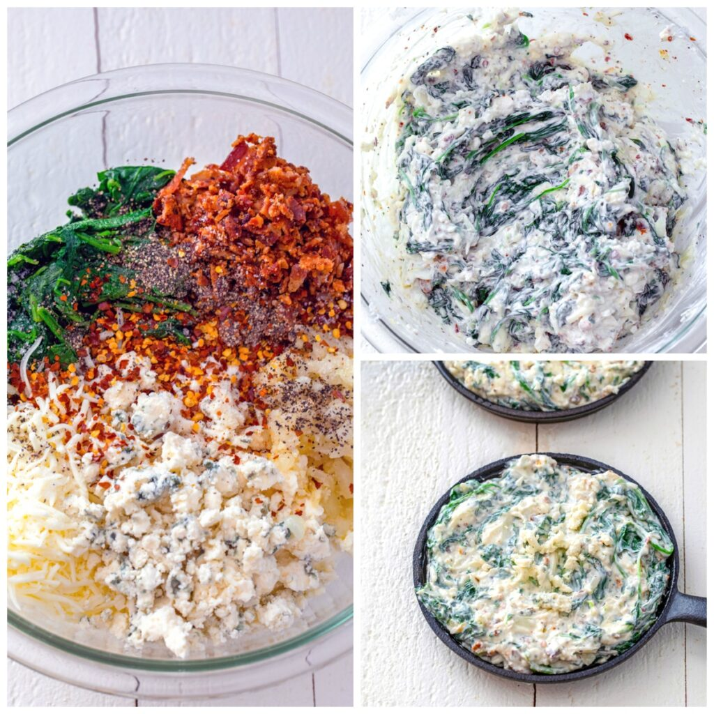 Collage showing process for making bacon blue cheese spinach dip, including all ingredients in bowl, all ingredients mixed together, and mixture in mini skillet