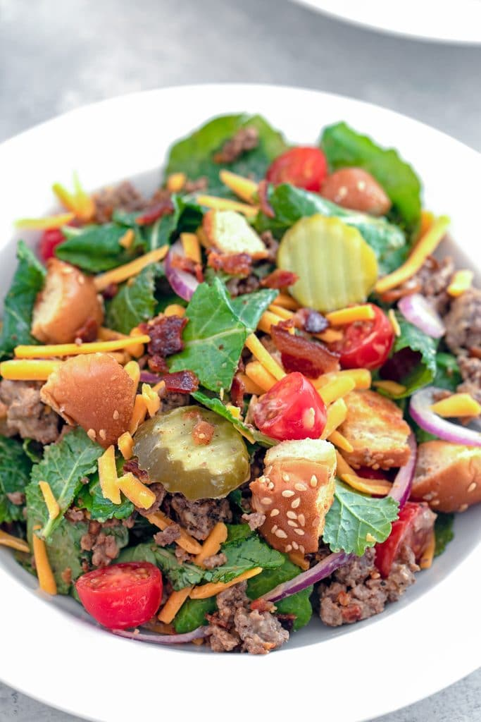 Overhead close-up view of bacon cheeseburger kale salad including baby kale, ground beef, shredded cheddar, dill pickle rounds, chopped tomatoes, red onion, crumbled bacon, and hamburger bun croutons in a white bowl