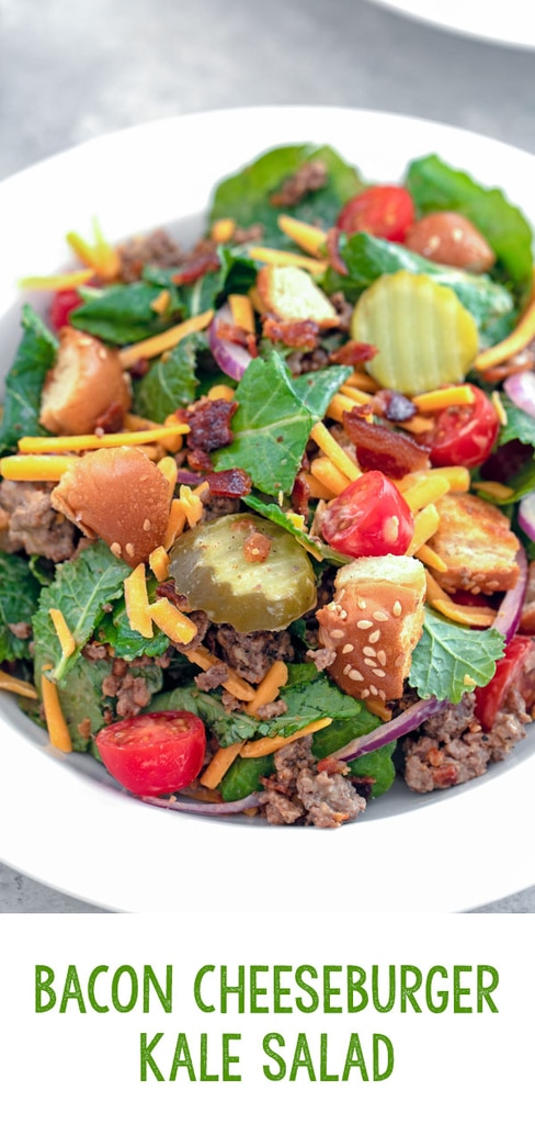 Bacon Cheeseburger Kale Salad -- This Bacon Cheeseburger Kale Salad is essentially a deconstructed bacon cheeseburger set over a bed of baby kale and topped with a