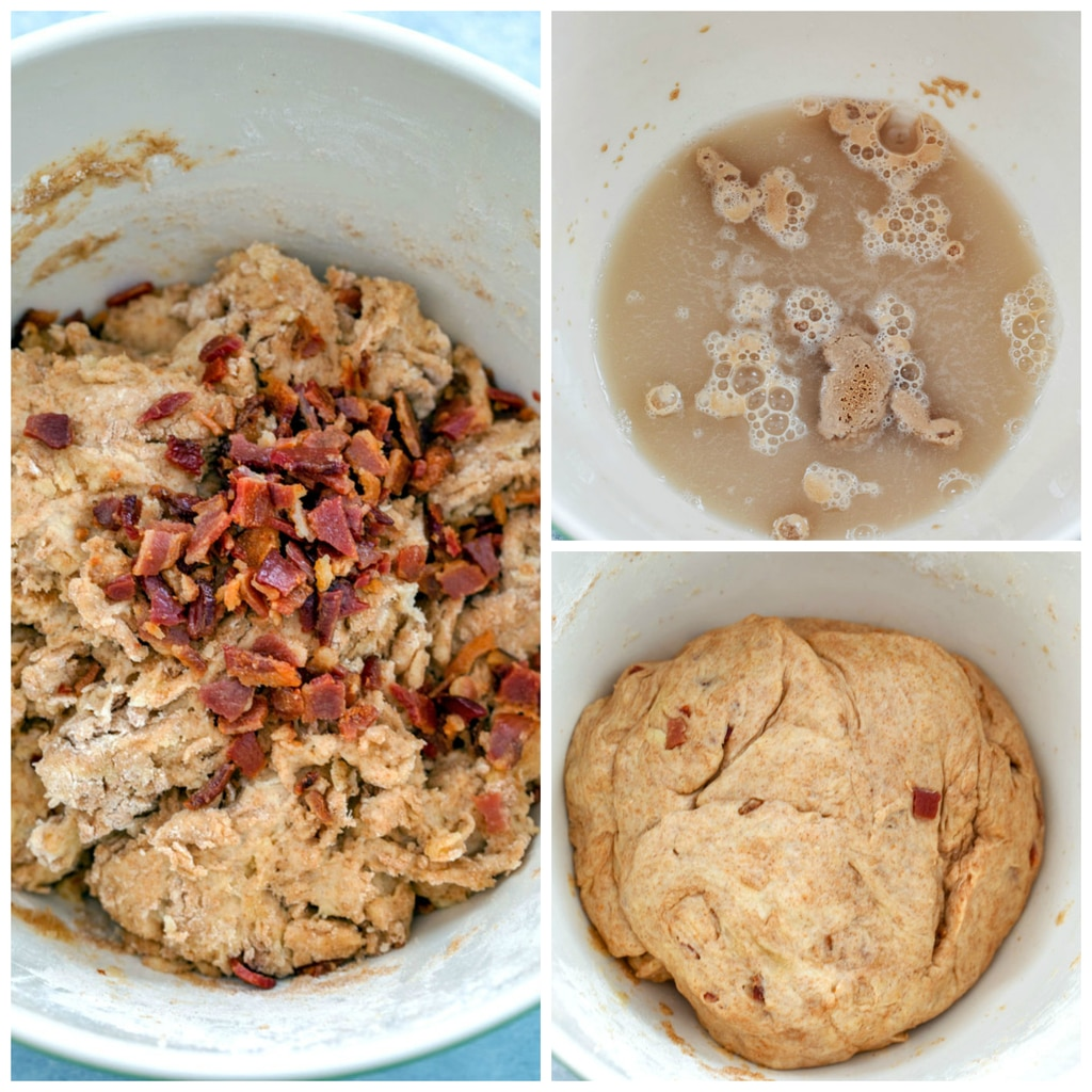 Collage showing process for making bacon rolls, including yeast foaming in warm water, crumbled bacon sprinkled over dough, and dough after kneading