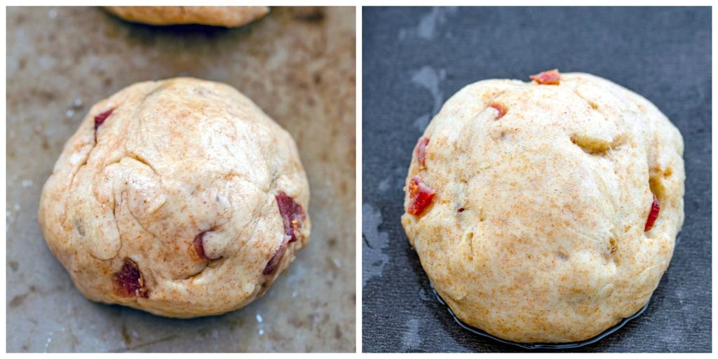 Collage showing bacon roll dough set on baking sheet and bacon roll dough after rising for 10 minutes on baking sheet