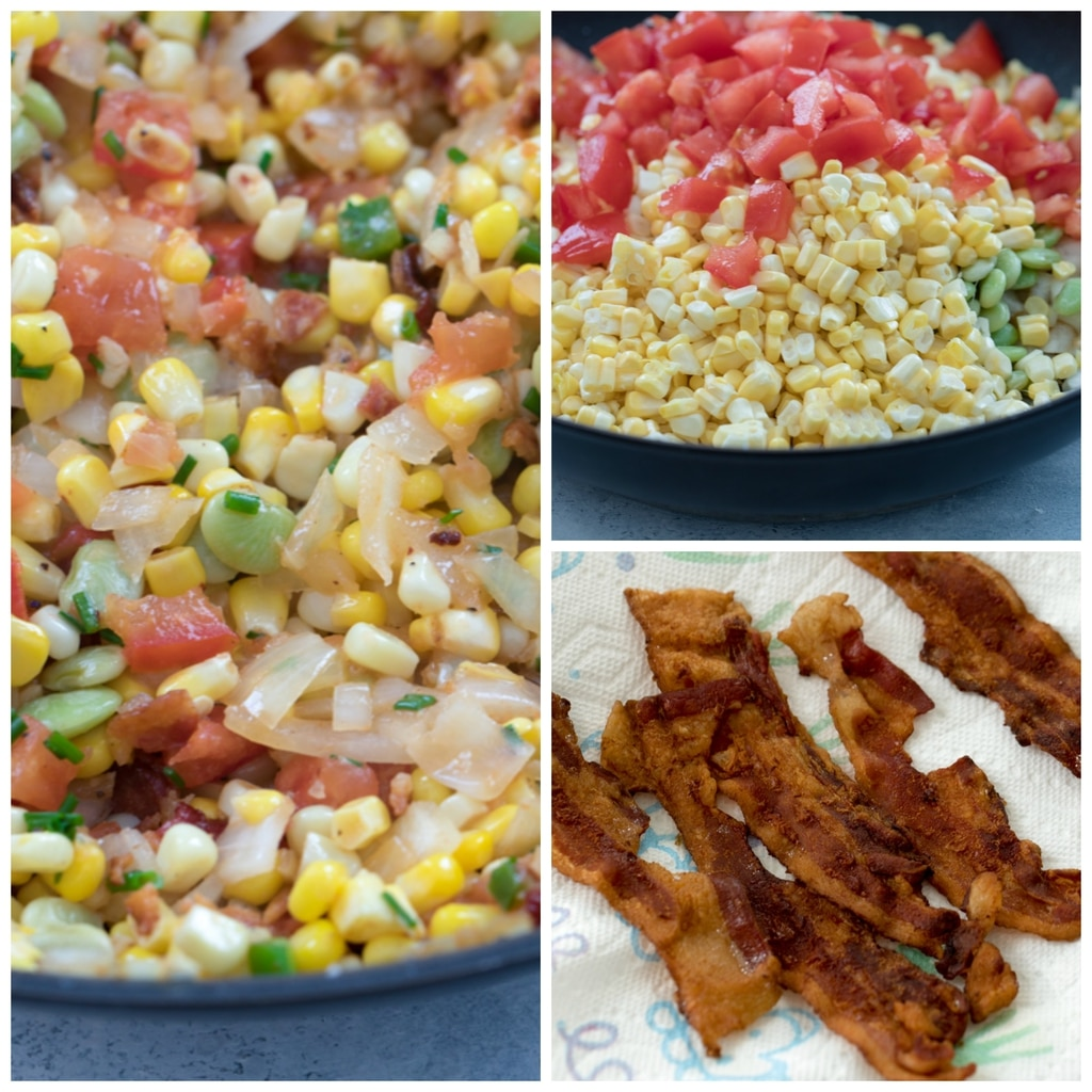 A collage featuring bacon succotash making process including corn, lime beans, tomatoes, jalapeño peppers, and bacon