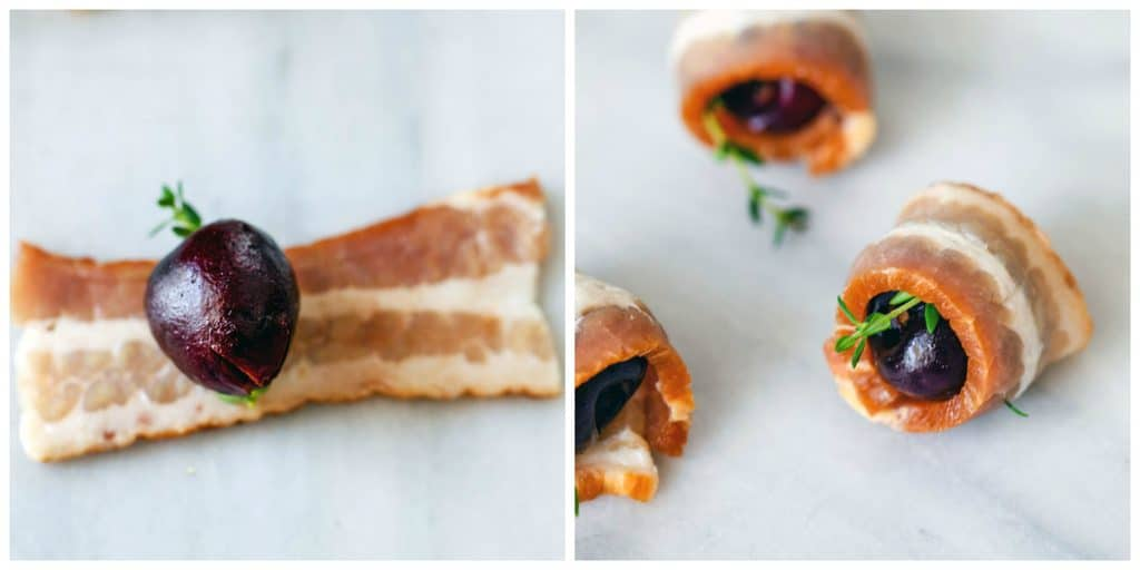Collage with one photo showing cherry and thyme on bacon strip and one with cherry and thyme wrapped in bacon strip