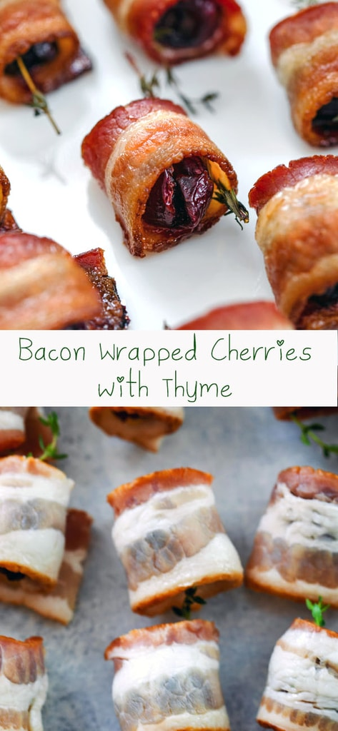 Bacon Wrapped Cherries with Thyme -- Your search for the perfect easy summer appetizer is over! These Bacon Wrapped Cherries with Thyme involve just three ingredients and are incredibly unique bite-sized party apps | wearenotmartha.com #appetizers #cherries #bacon #party