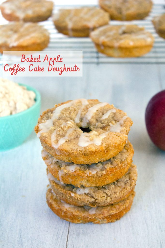 Baked Apple Coffee Cake Doughnuts -- Baked donuts with fresh macintosh apples, apple cider, and a crumb topping   wearenotmartha.com