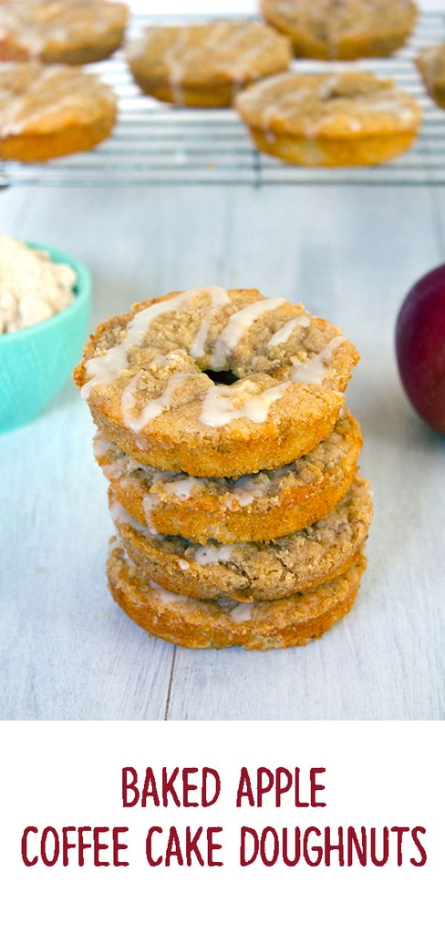 Baked Apple Coffee Cake Doughnuts -- The only thing better than apple cider doughnuts are baked apple coffee cake doughnuts- doughnuts with apple streusel, fresh apples, apple cider, and buttermilk | wearenotmartha.com #coffeecake #doughnuts #donuts #apples