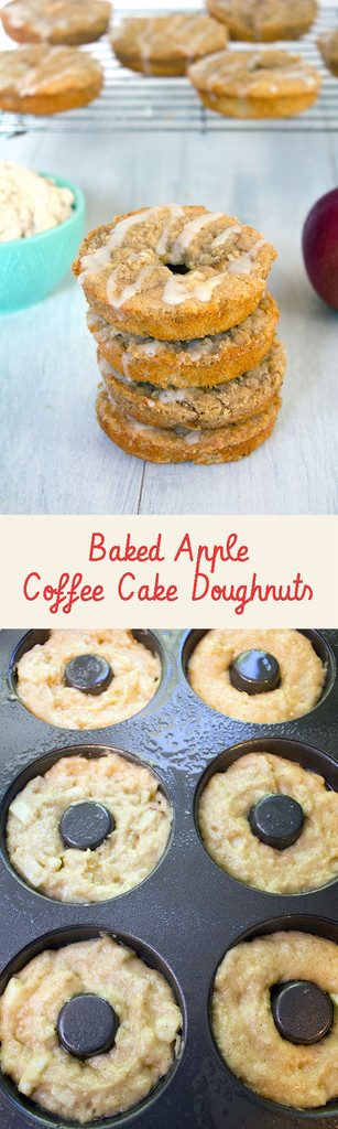 Baked Apple Coffee Cake Doughnuts -- Baked donuts with fresh macintosh apples, apple cider, and a crumb topping | wearenotmartha.com