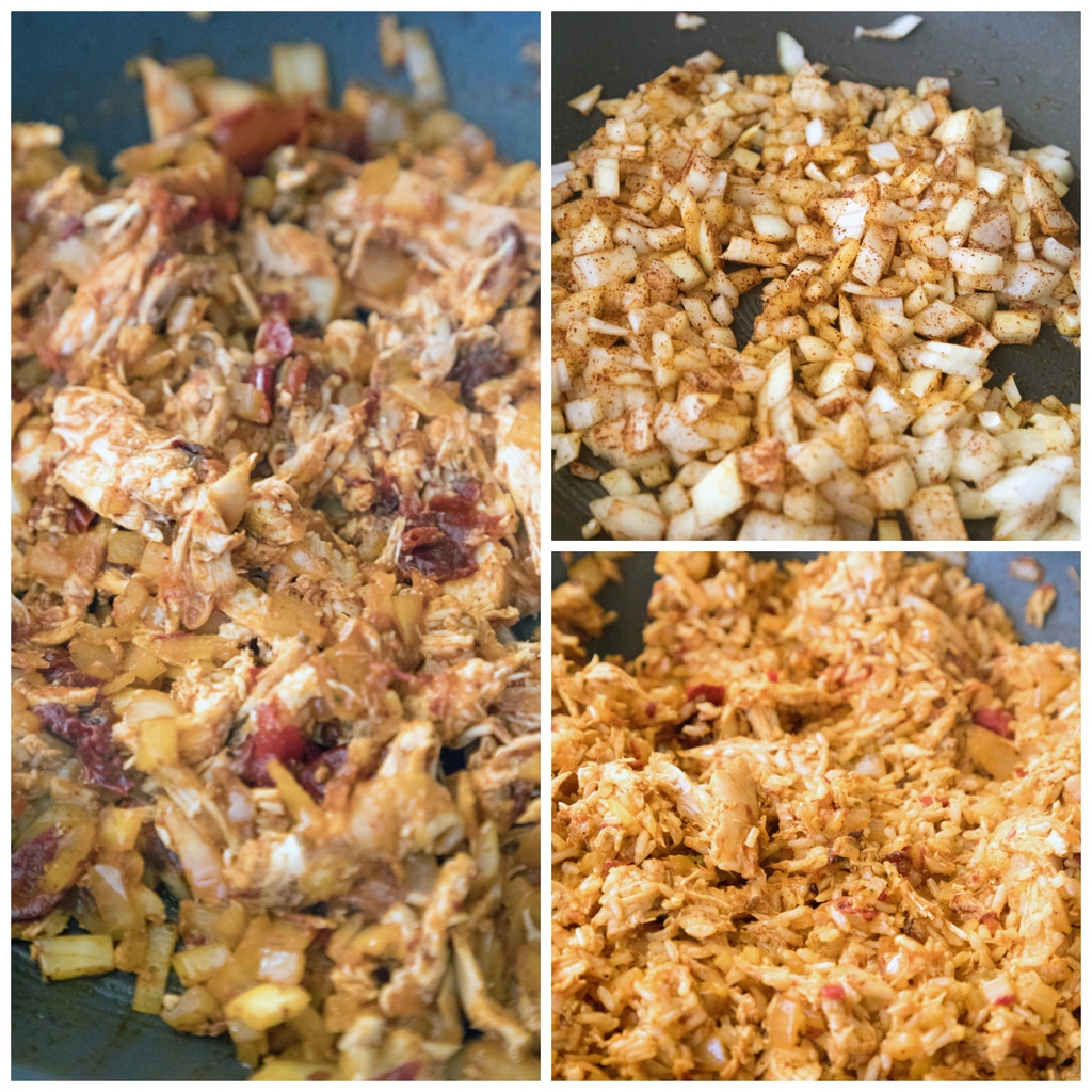 Collage showing process for making filling for baked chicken chimichangas, including onions cooking in pan, chipotle peppers and chicken added to pan, and rice added to mixture in pan