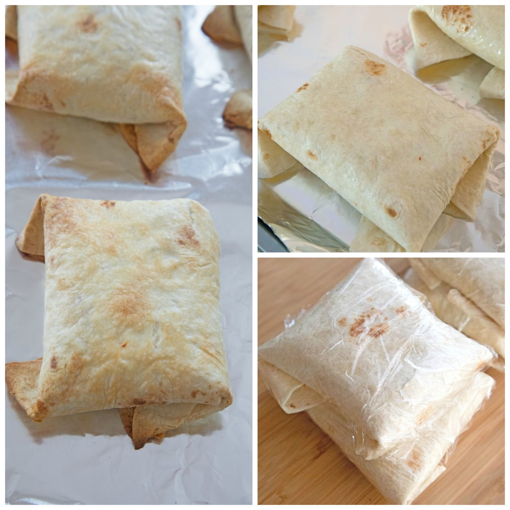 Collage showing process for assembling baked chicken chimichangas, including chimichangas wrapped on baking sheet, chimichangas baked and golden, and chimichangas wrapped and ready for freezer