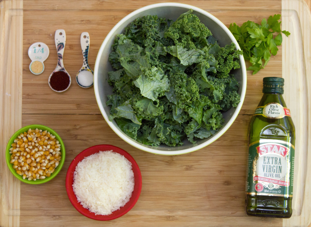Baked Kale Parmesan Popcorn Ingredients