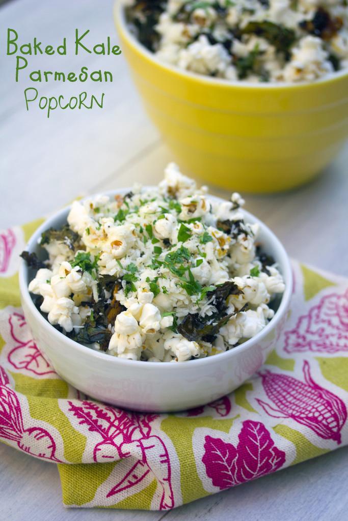 Baked Kale Parmesan Popcorn