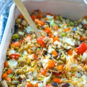 Baked Eggplant with Orzo -- This Baked Orzo with Eggplant is a great meat-free meal option that also makes for great next-day leftovers. But you can also enjoy it as a side dish to any meal | wearenotmartha.com