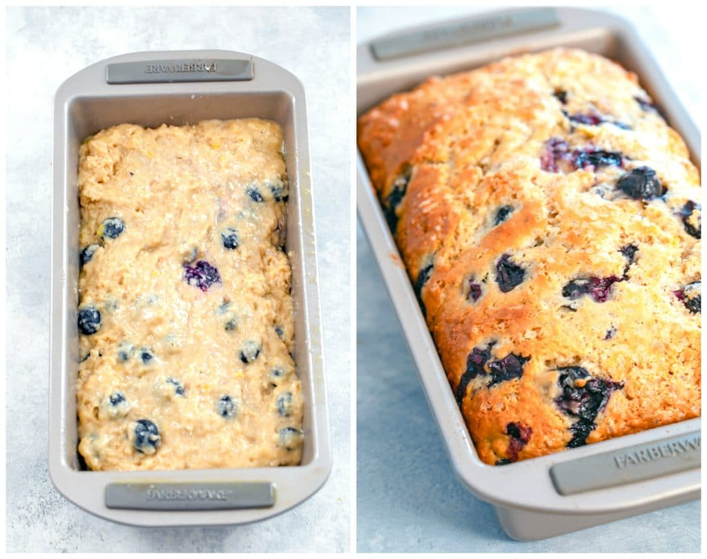 Collage showing process for baking blueberry lemon bread including bread batter in a loaf pan and bread just out of the oven golden brown on top