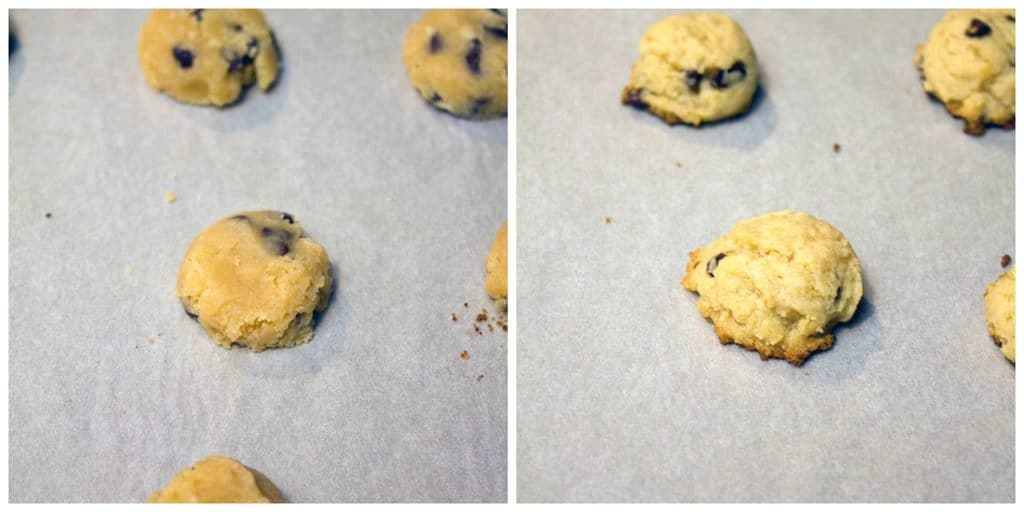 Collage showing chocolate chip cookie dough formed into mini cookies on parchment paper and mini cookies baked and just out of the oven